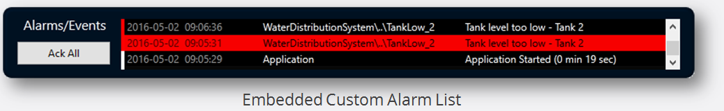 VTScada 11.2 - Embedded Custom Alarm List