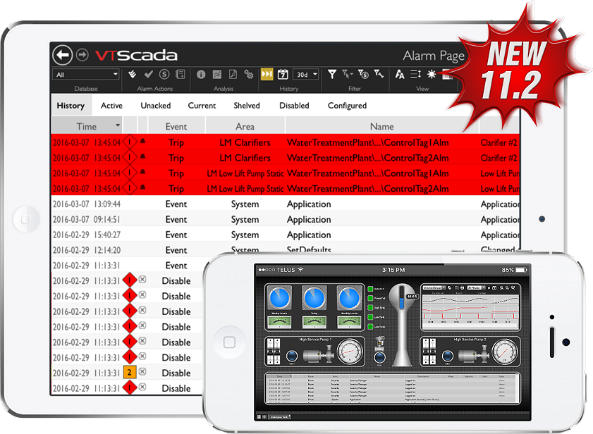 VTScada 11.2 Mobile Alarm Page